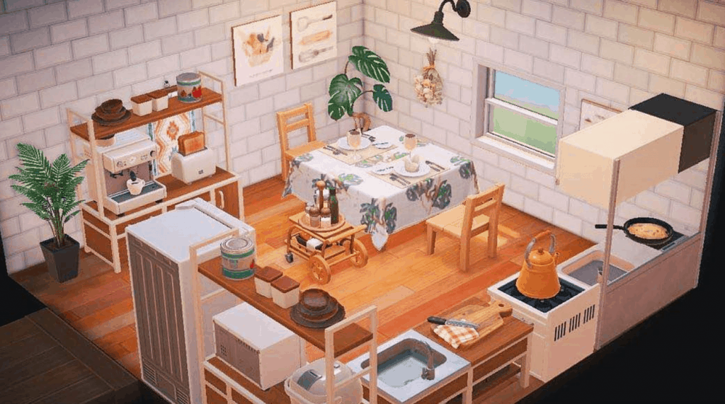Happy Home Academy in Animal Crossing New Horizons on Animal Crossing Ironwood Kitchen  id=91302