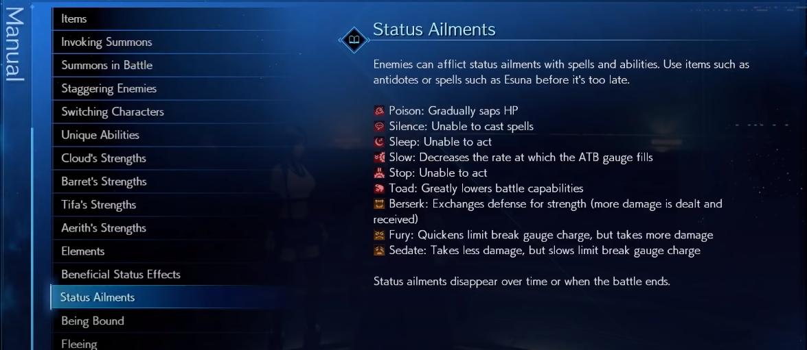 FF7 Remake Status Ailments